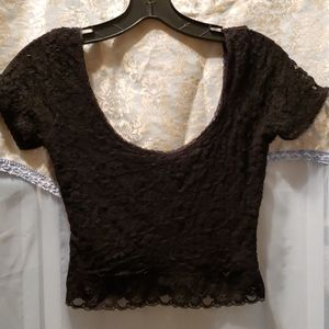 FOREVER 21 BLACK LACE CROP TOP SZ S